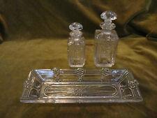 ensemble de toilette cristal baccarat floral artdeco (crystal toiletries set) 3p