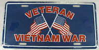 VIETNAM VETERAN METAL LICENSE PLATE AMERICAN FLAG L272