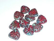Awesome Czech Glass Chunky Triangle Red & Picasso Carved Heart Beads 17mmx16mm