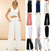 Women Harem Trousers Palazzo Loose Wide Leg High Waisted Beach Casual OL Pants