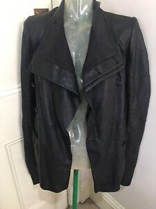 Rick Owens Black leather jacket UK 8 Italian 40