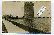 Milton MA Mass RPPC real photo man standing by water tower, reservoir, early