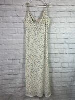 Tommy Hilfiger Women's Size 12 Silk Maxi Dress Floral Cream Blue Spaghetti Strap