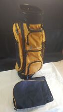 Memphis 14 Partition Golf Bag Gold Black Canvas Carried or Trolley Plus Hood