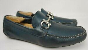 Salvatore Ferragamo Parigi Driving Shoes Blue Silver Bit Loafers Size 10 EE 2E