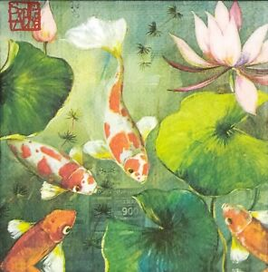 S261# 3 x Single SMALL Paper Napkins For Decoupage Chineese Carp Fish Water Lily