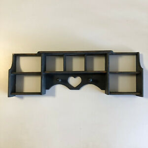Vintage Wooden Heart Cut Out Curio Shelf Cabinet Country Wall Display Pegs
