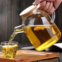 Teapot Glass Tea Pot Herbal Coffee Maker Kettle Cold Hot Resistant Lid Wood Gift