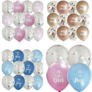 12 PACK BABY SHOWER LATEX CONFETTI BALLOONS BOY GIRL NEUTRAL PARTY DECORATIONS