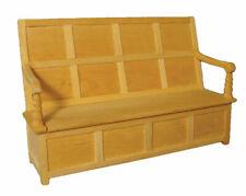 1 /12 scale Dolls House Furniture  Plain Wood Charles II Settle  BEF100