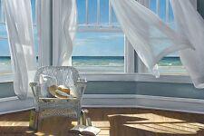 GENTLE READER KAREN HOLLINGSWORTH PRINT 45X30 white chair at ocean window poster