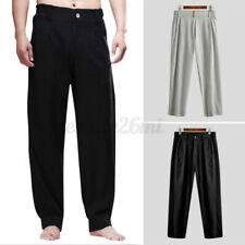 Mens Casual Linen Summer Long Pants Hippy Yoga Loose Lightweight Trousers Slacks
