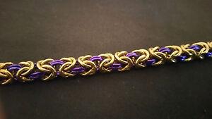 Gold and Violet Anodized Aluminum Byzantine Chain mail Bracelet