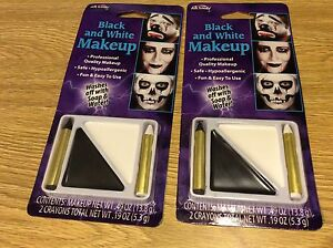 Lot of 2 Brand New Black and White Make-Up Kit Halloween Costume Accessory