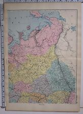 1891 ANTIQUE MAP ~ RUSSIA NORTH EAST VOLOGDA HANGEL KAZAN
