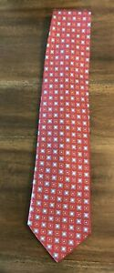 NWT Brioni Neck Tie Red and Blue Geometric Made in Italy 100% Silk Neiman Marcus