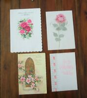 Vintage Mother's Birthday Cards 4 French Fold  Flowers God Bless Mid Century lot