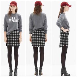 Madewell Shirttail Skirt in Buffalo Plaid Black Gray Mini Skirt ~ Size 4