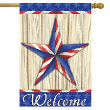 "Patriotic Barnstar Primitive House Flag Welcome Red White and Blue 28"" x 40"""