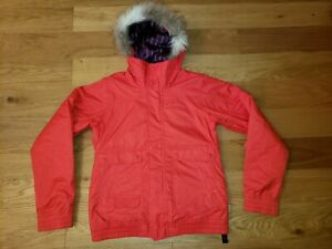 Burton DryRide Womens Large Tabloid RED Insulated Ski Snowboard Jacket Hooded