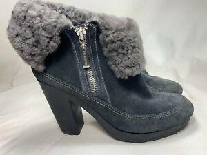 "Women's Hunter Boots Teal Suede Gray Shearling Booties Size 7 ""Ryann"" Brazil"
