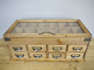 Rustic Chest of Drawers Office Desk Jewellery Organiser Small Apothecary Cabinet