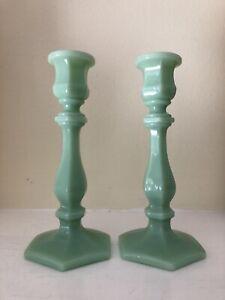 Jade Jadeite Green Glass Paneled Candleholders Candlesticks Mosser EUC