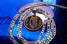 "1985 Classic Irish Harp Coin Pendant on a 30"" 925 Sterling Silver Chain"