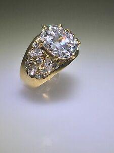 80's Designer Kathryn Post  Sterling Silver 18k Vermeil Cubic Zirconia Ring