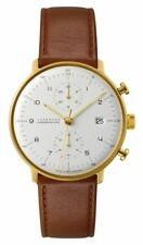 AUTHORIZED DEALER Junghans 027/7800.00 Max Bill Chronoscope Leather Strap Watch