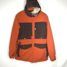 BURTON DryRide Snowboard Hooded Jacket Large Waterproof Ski Coat Orange Lined