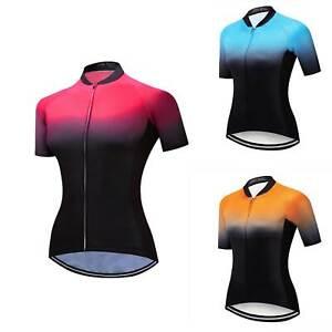 Reflective Cycling Jersey Full Zip Women's Short Sleeve Cycle Biking Jersey Top