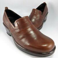 "Dansko Layered Clogs Womens Size 9.5M (EU 40) Brown Leather Slip-Ons 2.5"" Heels"