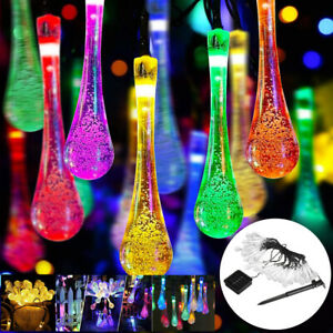 Solar LED Fairy String Lights Waterproof Outdoor Holiday Garden Waterdrop Lights