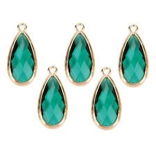 5x Crystal Glass Teardrop Pendant Bead Charms DIY Necklace Bracelets Earring