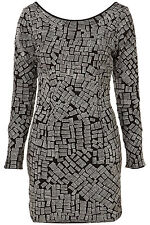 Topshop Black Metallic Embroidered Geometric Body Con Dress UK 12 EURO 40 US 8