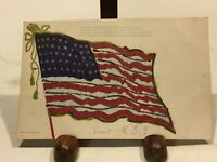ANTIQUE AMERICAN FLAG INDEPENDENCE 4th OF JULY EMBOSSED POSTCARD WITH GLITTER