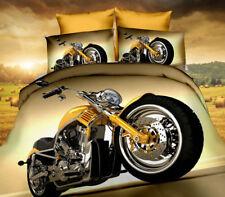 3 tlg.3D Effekt Bettwäsche Bettbezug Bettgarnitur 155x200 cm Motorrad Harley