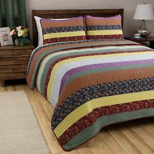 Sagamore Striped 100%Cotton 3-Piece Quilt Set, Bedspread, Coverlet