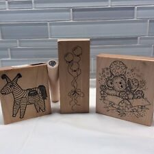 Birthday Wood Mounted Rubber Stamps Lot Of 4 Party Pinata Balloons Teddy Bear