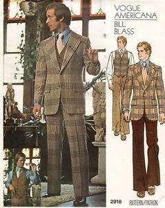 1970's VTG VOGUE Men's Jacket,Pants,Vest Bill Blass Pattern 2916 Size 38 UNCUT