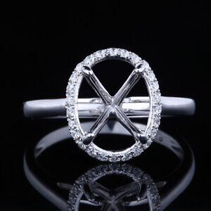 Sterling Silver Elegant Oval 8x10mm SI/H Diamond Engaement Semi Mount Fine Ring