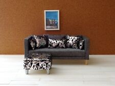 Doll Furniture in 1/6 scale Ottoman/ 5 pillows Metallic & Black Crackle