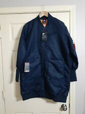 Nike Women Medium NSW MA-1 Long Parka Coat Blue Sportswear 932049 475 NWT $225