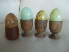 Set Of FOUR Marble Alabaster EGGS, Each W/Own Wooden Egg Cup Holder, Vintage EUC
