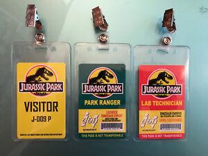 3x Jurassic Park Set Prop ID Badge: Lab Technician - Visitor Pass - Park Ranger
