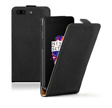 SLIM BLACK Leather Flip Case Cover Pouch For Mobile Phone OnePlus 5