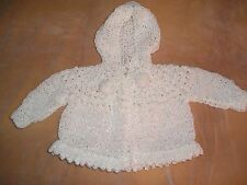 Handmade knitted baby hooded sweater acrylic yarn white #5