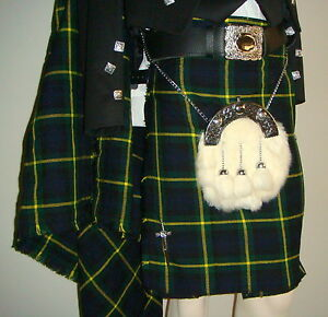 Scottish   Gordon Tartan Heavy Kilt & Kilt Pin   Geoffrey