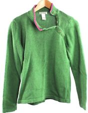 Orvis Women's Green and Pink Button Pullover Sweater Knit Size Small